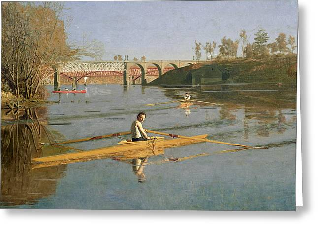 Pastimes Greeting Cards - Max Schmitt in a Single Scull Greeting Card by Thomas Cowperthwait Eakins