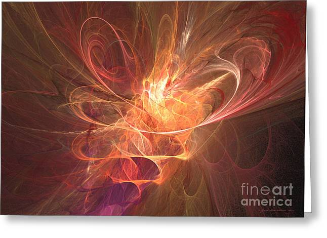 Interior Still Life Mixed Media Greeting Cards - Maximum power of love - abstract art Greeting Card by Abstract art prints by Sipo