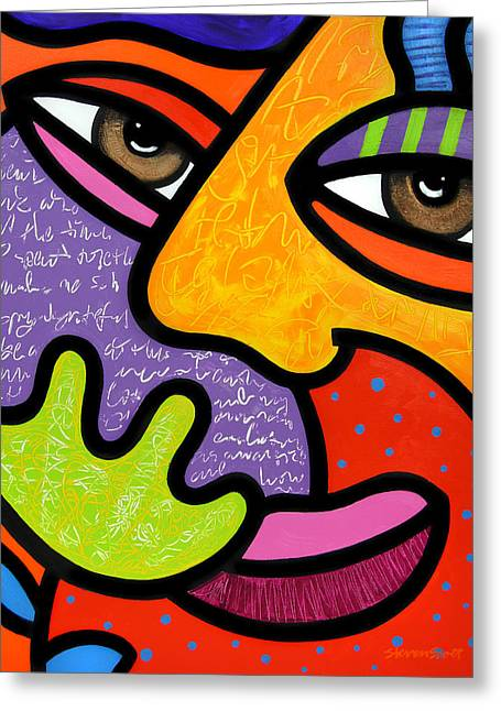 Abstract Faces Greeting Cards - Maxine Greeting Card by Steven Scott