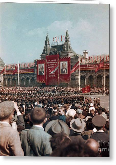 Rally Greeting Cards - May Day Parade, Moscow, 1959 Greeting Card by Photo Researchers