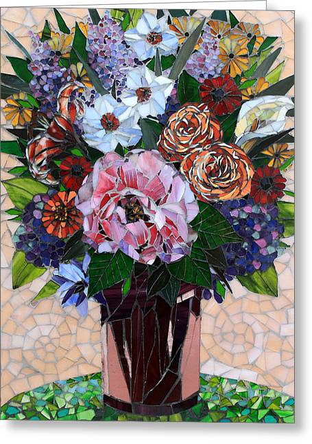Roses Glass Greeting Cards - May Flowers Greeting Card by Sandra Bryant