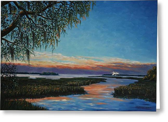 May River Sunset Greeting Card by Stanton Allaben