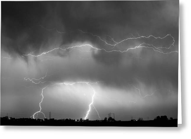Striking Images Photographs Greeting Cards - May Showers - Lightning Thunderstorm  BW 5-10-2011 Greeting Card by James BO  Insogna