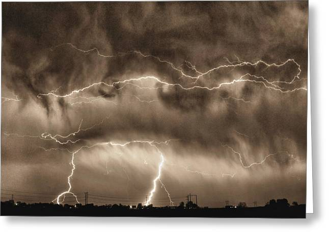 The Lightning Man Greeting Cards - May Showers - Lightning Thunderstorm Sepia HDR Greeting Card by James BO  Insogna
