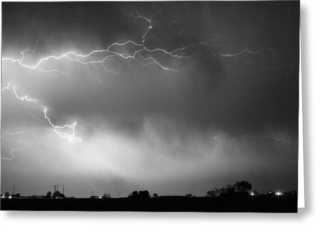 The Lightning Man Greeting Cards - May Showers 2 in BW - Lightning Thunderstorm 5-10-2011 Boulder C Greeting Card by James BO  Insogna