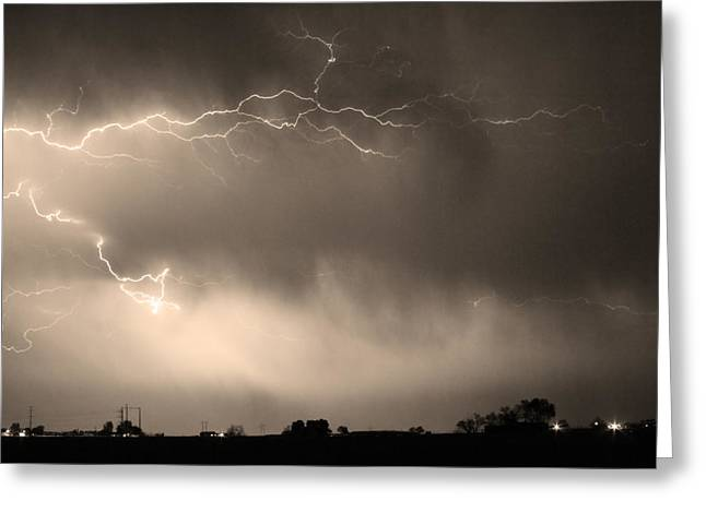 Images Lightning Greeting Cards - May Showers 2 in Sepia - Lightning Thunderstorm 5-10-2011   Greeting Card by James BO  Insogna
