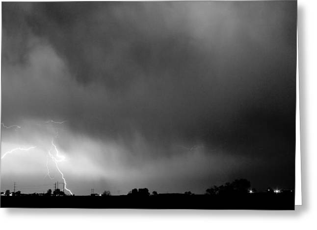 Images Lightning Greeting Cards - May Showers 3 in BW - Lightning Thunderstorm 5-10-2011 Boulder C Greeting Card by James BO  Insogna