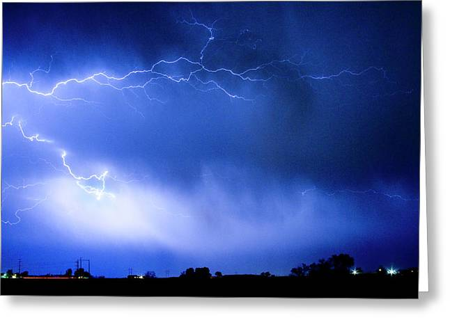 Bos Greeting Cards - May Showers Two in Color - Lightning Thunderstorm 5-10-2011 Greeting Card by James BO  Insogna