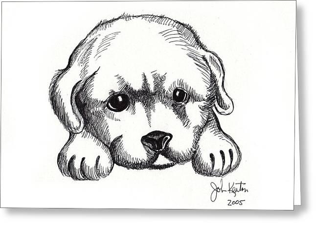 Puppies Drawings Greeting Cards - Maya 2 Greeting Card by John Keaton