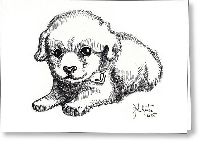 Puppies Drawings Greeting Cards - Maya 3 Greeting Card by John Keaton