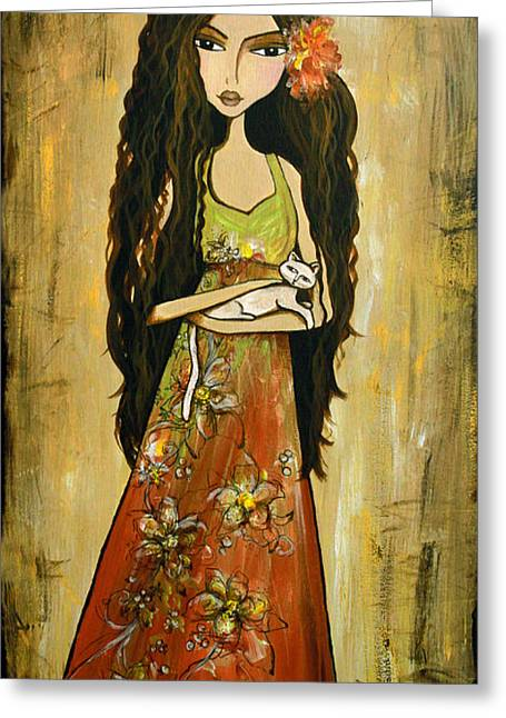Long Dress Mixed Media Greeting Cards - Maya and the Cat Greeting Card by Debbie Horton