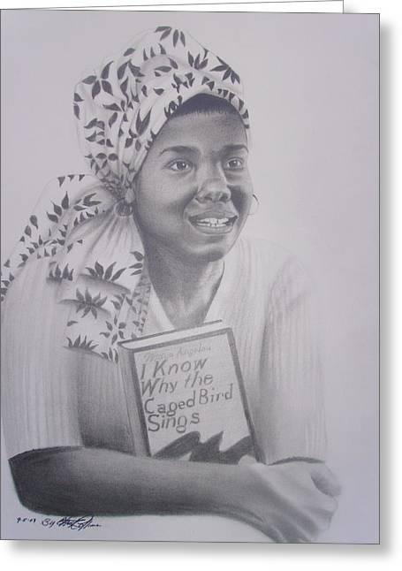 Maya Angelou Greeting Cards - Maya Angelou  Haydays Greeting Card by Chuck Collins