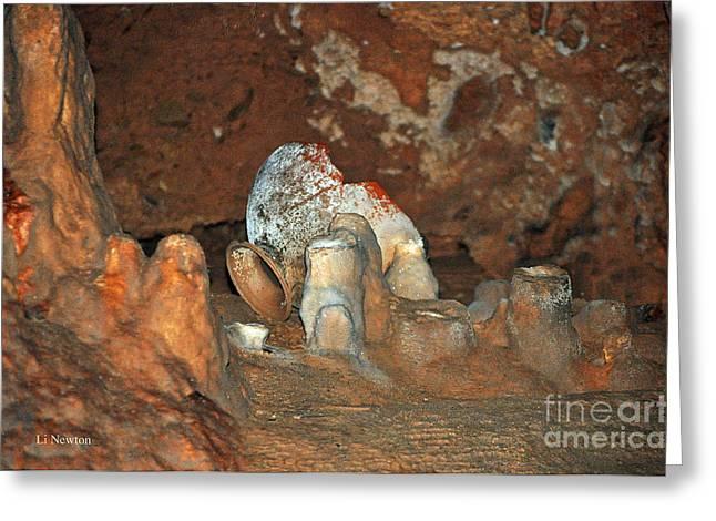 Mayan Pottery Greeting Cards - Mayan Cave Rituals Greeting Card by Li Newton
