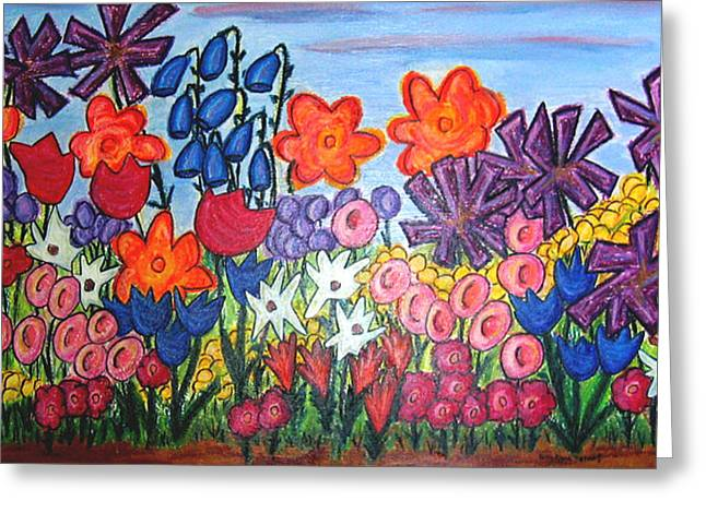 Bright Pastels Greeting Cards - Mayas Garden Greeting Card by Kerry  Bennett