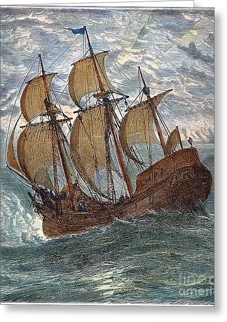 Trans-atlantic Greeting Cards - Mayflower At Sea, 1620 Greeting Card by Granger