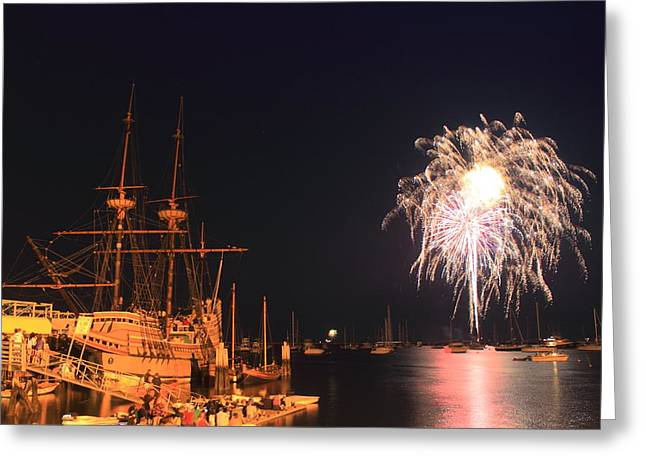 Plymouth Massachusetts Greeting Cards - Mayflower II Fireworks Greeting Card by John Burk