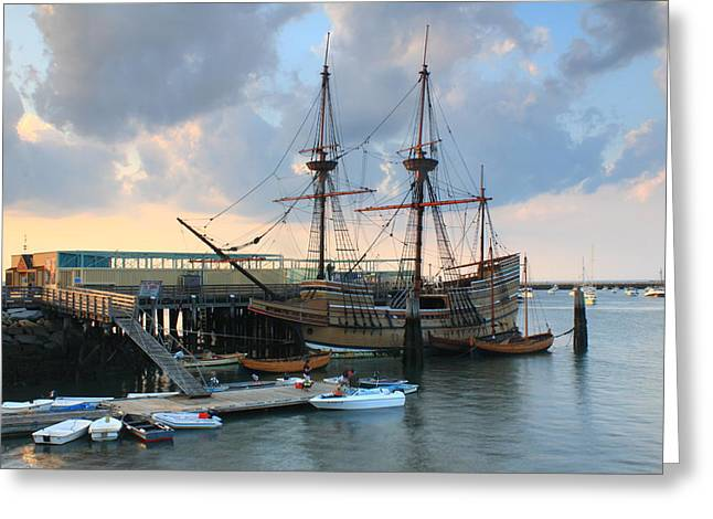 Plymouth Massachusetts Greeting Cards - Mayflower II in Plymouth Harbor Greeting Card by John Burk