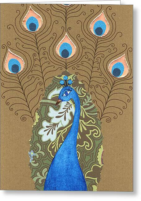 Devotional Mixed Media Greeting Cards - Mayura Greeting Card by Justine Aldersey-Williams