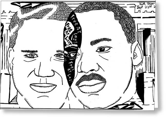 Yonatan Frimer Mixed Media Greeting Cards - Maze cartoon of MLK and Glenn Beck at Lincoln Memorial Greeting Card by Yonatan Frimer Maze Artist