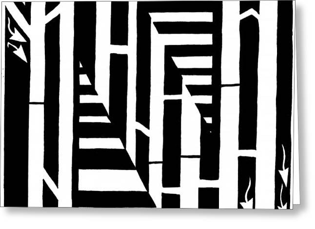 Yonatan Frimer Mixed Media Greeting Cards - Maze of the Letter N Greeting Card by Yonatan Frimer Maze Artist