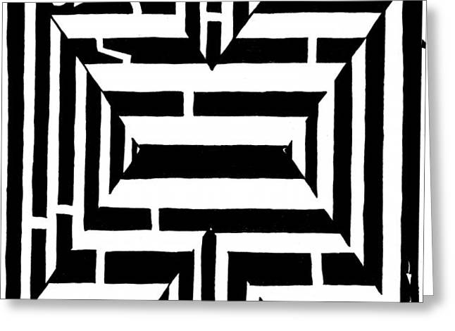 Yonatan Frimer Mixed Media Greeting Cards - Maze of the letter X Greeting Card by Yonatan Frimer Maze Artist