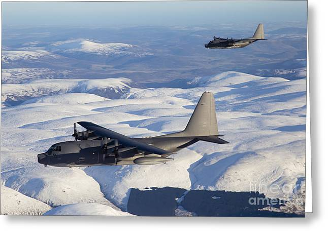 Snow-covered Landscape Greeting Cards - Mc-130p Combat Shadow And Mc-130h Greeting Card by Gert Kromhout