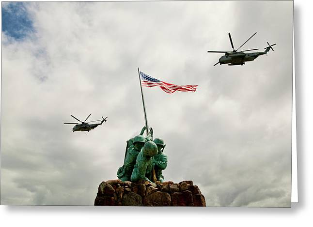 Sikorsky Photographs Greeting Cards - MCBH Remembers Iwo Jima Greeting Card by Dan McManus