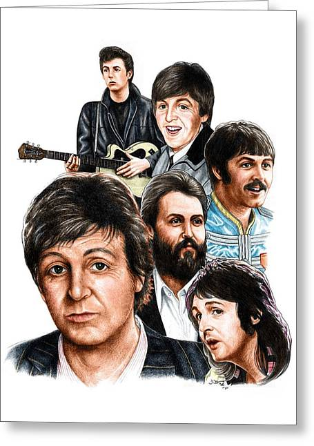 Mccartney Drawings Greeting Cards - McCartney - Heart of the Band  Greeting Card by Jonathan W Brown