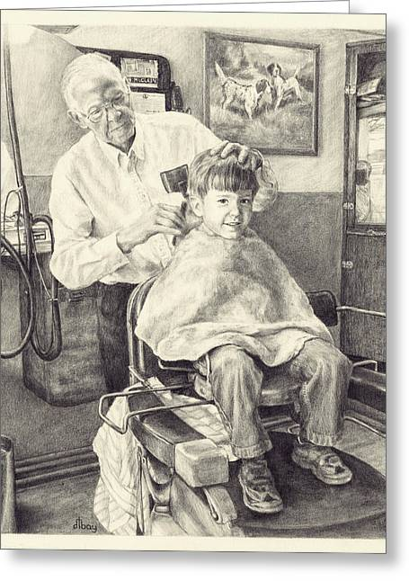 1950s Portraits Greeting Cards - McClains Barbershop Greeting Card by Diane Bay