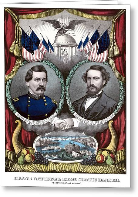 Union Drawings Greeting Cards - McClellan and Pendleton Campaign Poster Greeting Card by War Is Hell Store