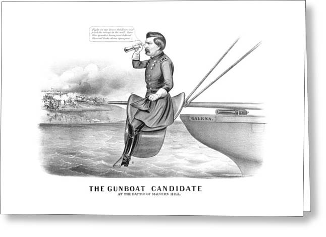 Union Drawings Greeting Cards - McClellan The Gunboat Candidate Greeting Card by War Is Hell Store