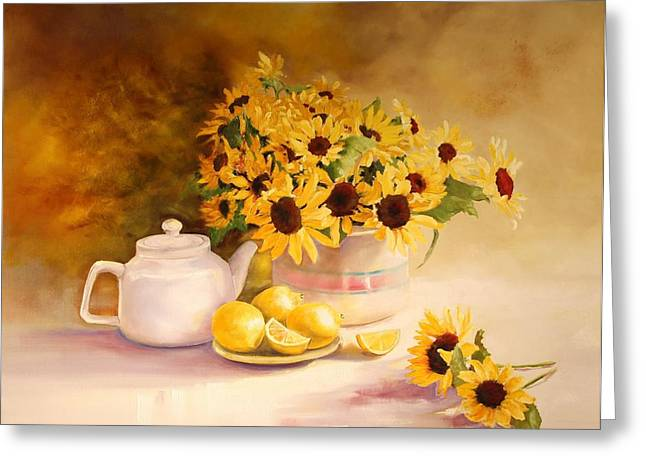 Mccoy Greeting Cards - McCoy Teapot and Sunflowers Greeting Card by Diana  Tyson