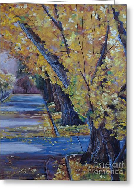 Yellow Leaves Pastels Greeting Cards - McDonald Ave. Ginkgos Greeting Card by Debbie Harding