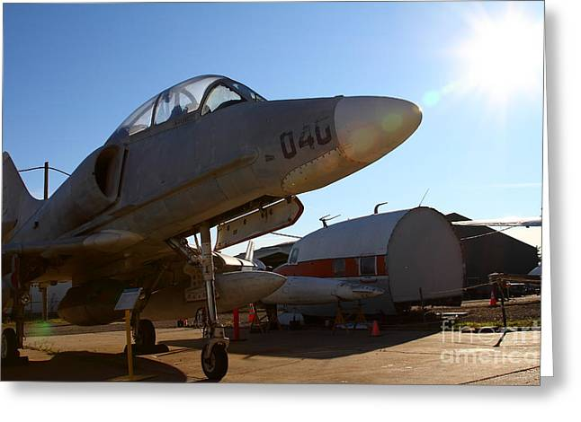 Jet Star Greeting Cards - McDonnell Douglas TA-4J Skyhawk Aircraft Fighter Plane . 7D11302 Greeting Card by Wingsdomain Art and Photography