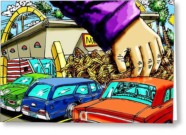 Take-out Mixed Media Greeting Cards - McDs TakeOut Greeting Card by Gregg Dutcher