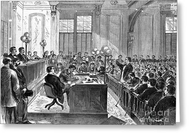 Trial Greeting Cards - McFARLAND TRIAL, 1870 Greeting Card by Granger