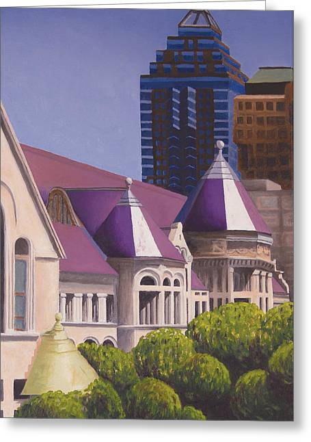 Montreal Urban Landscapes Greeting Cards - McGill Peaks Greeting Card by Duane Gordon