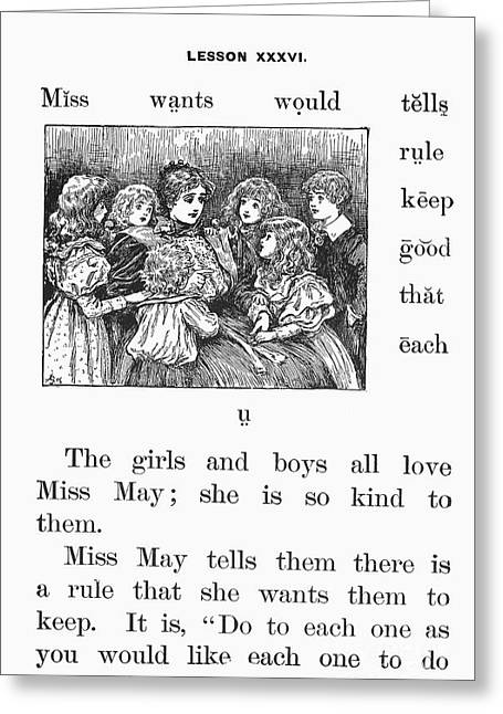 Moral Greeting Cards - McGUFFEYS PRIMER, 1881 Greeting Card by Granger