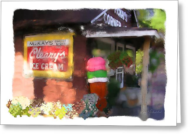 Muskellunge Greeting Cards - McKays Corner Store Greeting Card by Geoff Strehlow