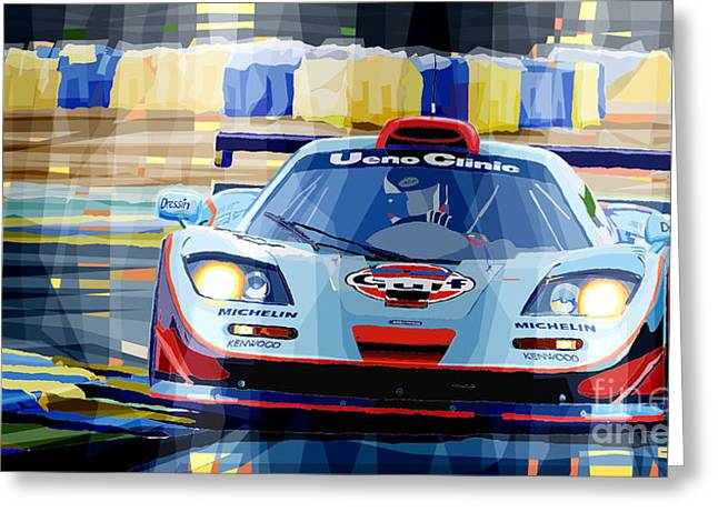 Men Mixed Media Greeting Cards - McLaren BMW F1 GTR Gulf Team Davidoff Le Mans 1997 Greeting Card by Yuriy  Shevchuk