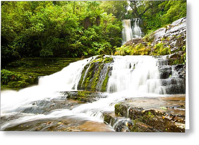 Primeval Greeting Cards - McLean Falls in the Catlins of South New Zealand Greeting Card by Ulrich Schade