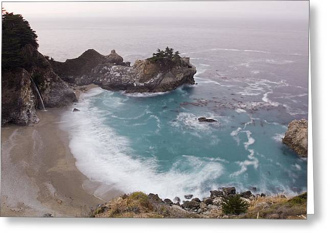 Pfeiffer Beach Greeting Cards - Mcway Cove Waterfall At Julia Pfeiffer Greeting Card by Rich Reid