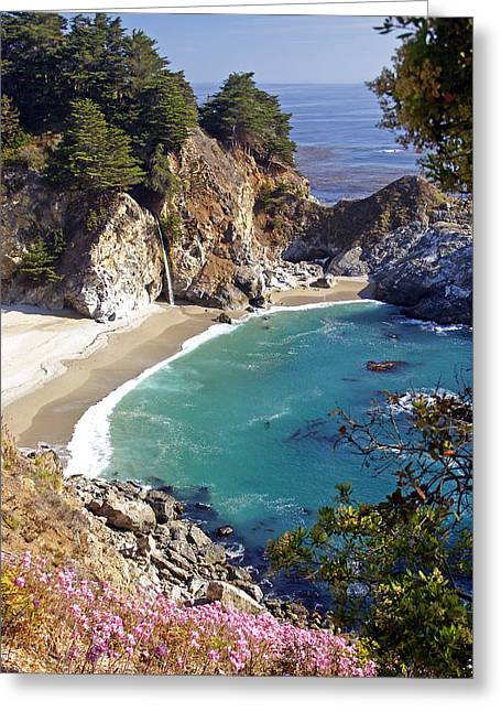 Coast Highway One Greeting Cards - McWay Falls 1 Greeting Card by Rod Jones