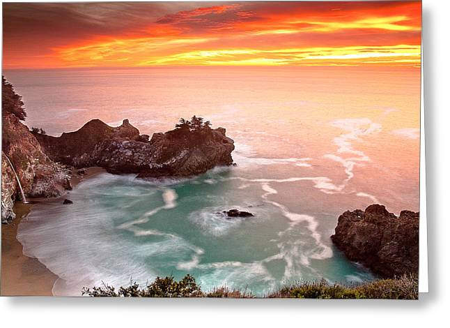 Coast Highway One Greeting Cards - McWay Falls Big Sur Greeting Card by Andy Bowlin