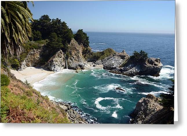 Waterfalls Into The Ocean Greeting Cards - McWay Falls Greeting Card by Cassie Marie Photography