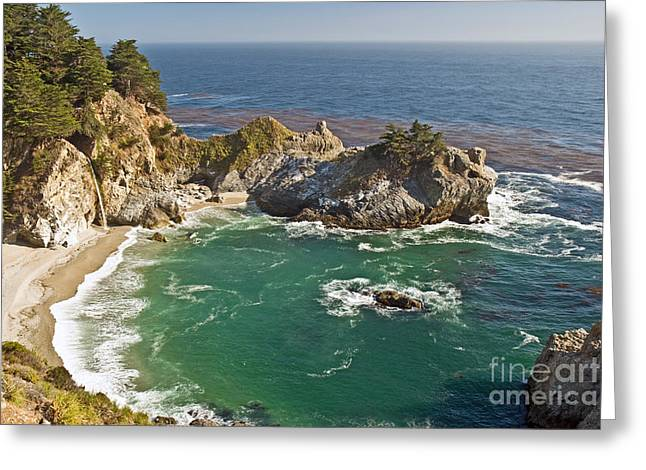 Big Sur Beach Greeting Cards - McWay Falls  Greeting Card by Jim Chamberlain