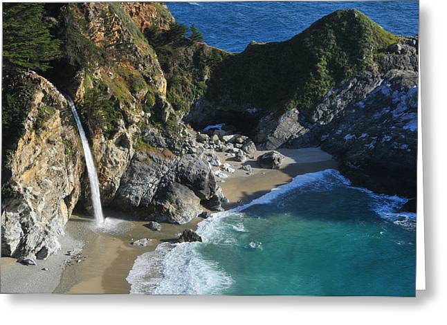 Pfeiffer Beach Greeting Cards - McWay Falls Greeting Card by Lynn Bauer