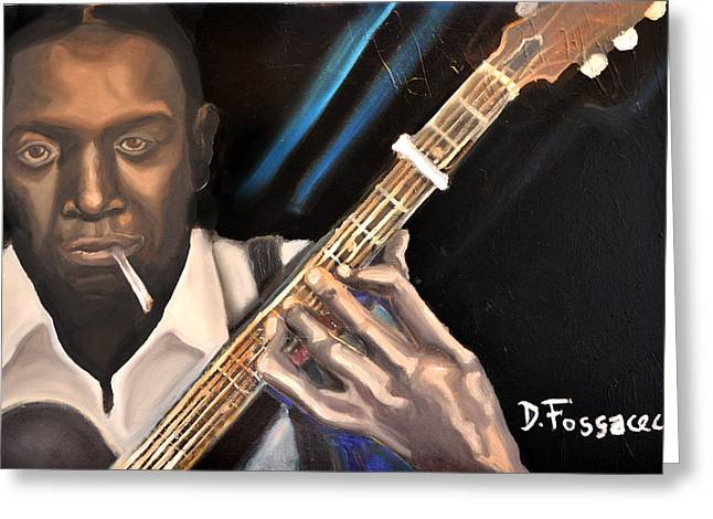 Forties Paintings Greeting Cards - Me and The Devil Blues-Robert Johnson Greeting Card by David Fossaceca