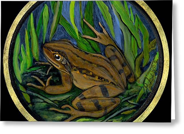 Anna Maciejewska-dyba Greeting Cards - Meadow Frog Greeting Card by Anna Folkartanna Maciejewska-Dyba