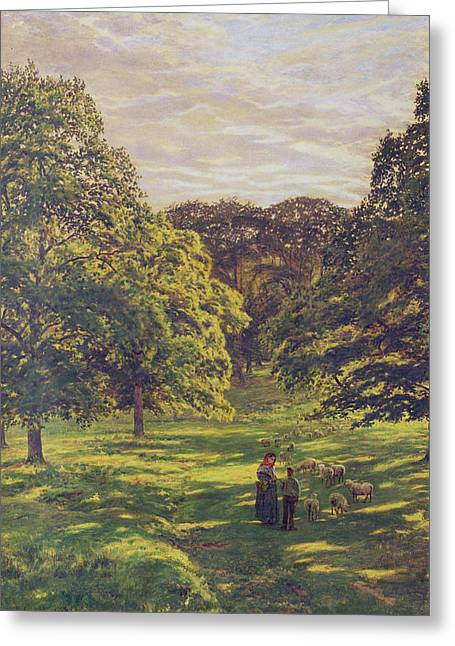 Leading Sheep Greeting Cards - Meadow Scene  Greeting Card by John William Buxton Knight